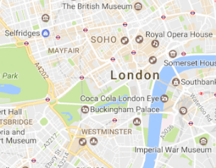 A screenshot of London on Google maps
