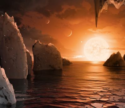 Picture of imaginary view from a planet in the Trappist-1 system