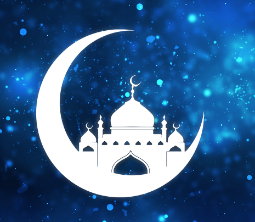 Silhouette of a mosque sitting on a crescent moon