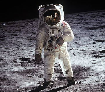 Buzz Aldrin standing on the moon during the Apollo 11 mission